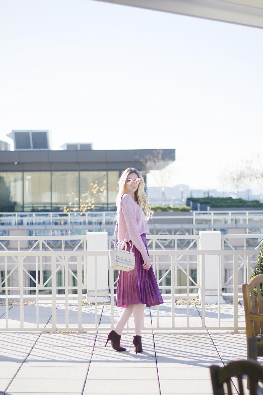 Blogger Velvet Pleated Skirt
