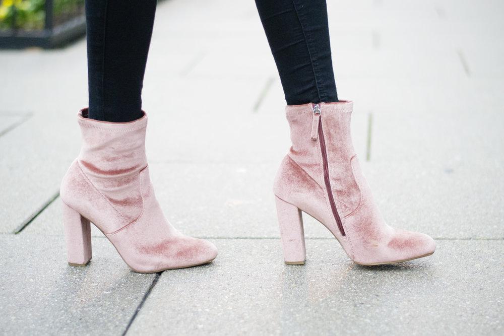 Blush Velvet Ankle Boots