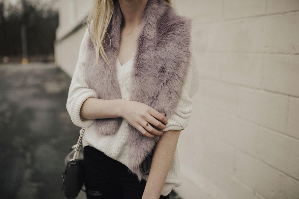 Faux Fur Stole Outfit