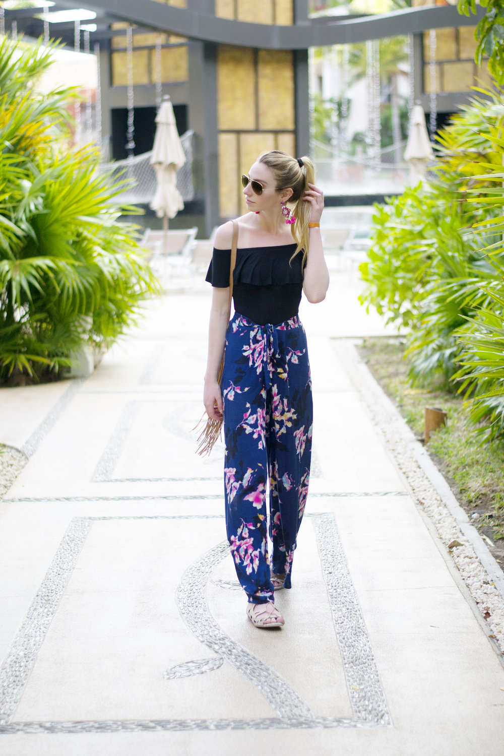 High Waisted Wide Leg Floral Pants