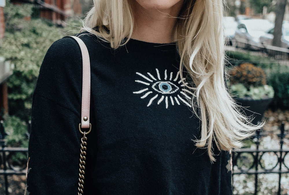 Eye Graphic Embroidered Sweater