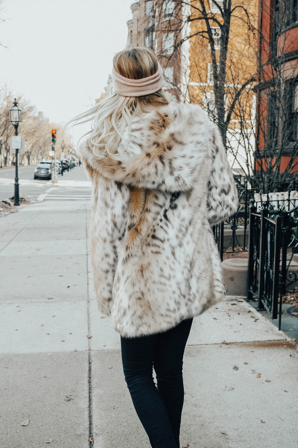 Faux Fur Print Coat