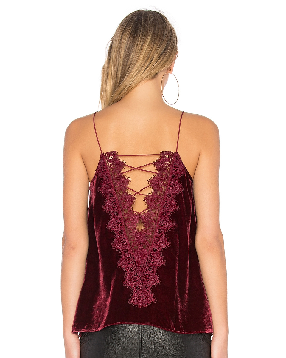 BRINGING SEXY BACK - Me-OW. This cami can also be worn backwards, but I think I prefer it with the lace-up deep-V in back. Not sure anything says Valentine's Day more a than red velvet and lace combo.