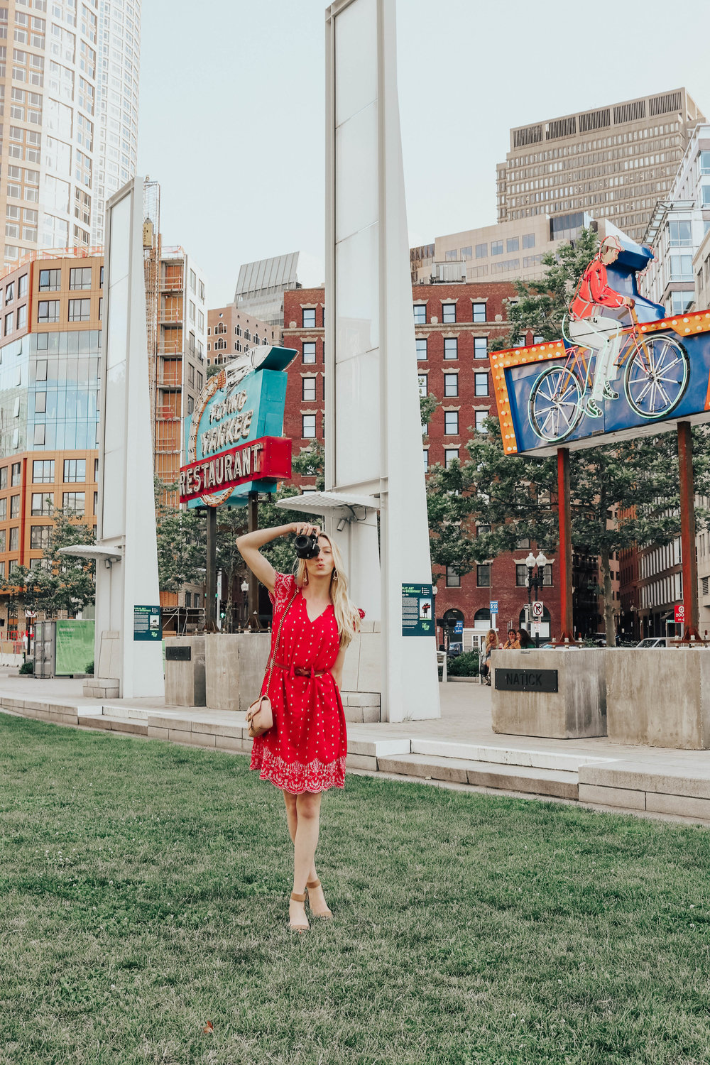 Red Ruffle Sleeve Dress | @maevestier