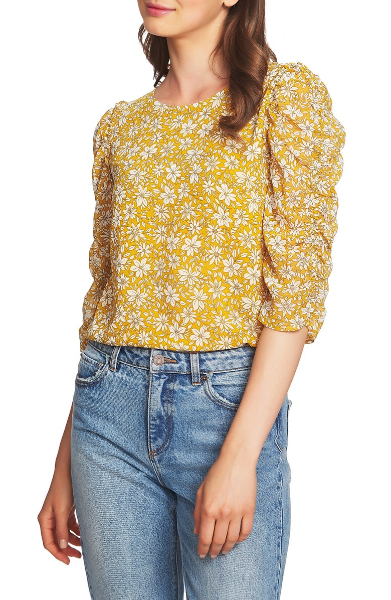 Ruched Sleeve - Florals and a chic statement sleeve? Sign me up.