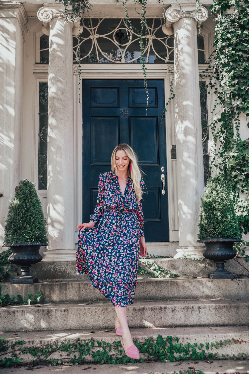 Long sleeve floral dress | @maevestier