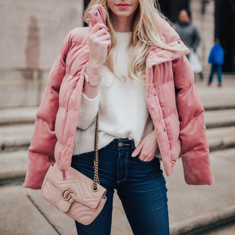Velvet Pink Puffer Coat (via @maevestier)