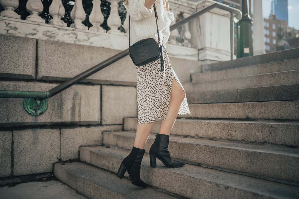 Animal Print Skirt Outfit (via @maevestier)