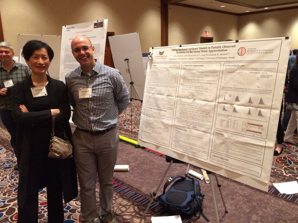 Jon Fintzi discussing his poster with Cynthia Chen (University of Washington).