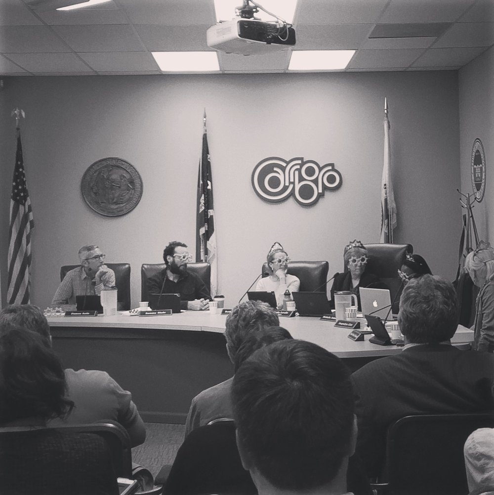 'After a 4-1/2 hour meeting, I'm still very honored to be the mayor of Carrboro.'  - Mayor Lydia Lavelle
