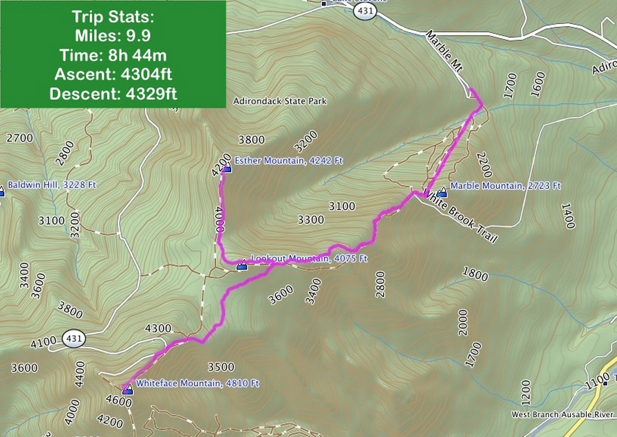 This is thetrail we took, but the stats were a little different for us (I took this image from a google search).