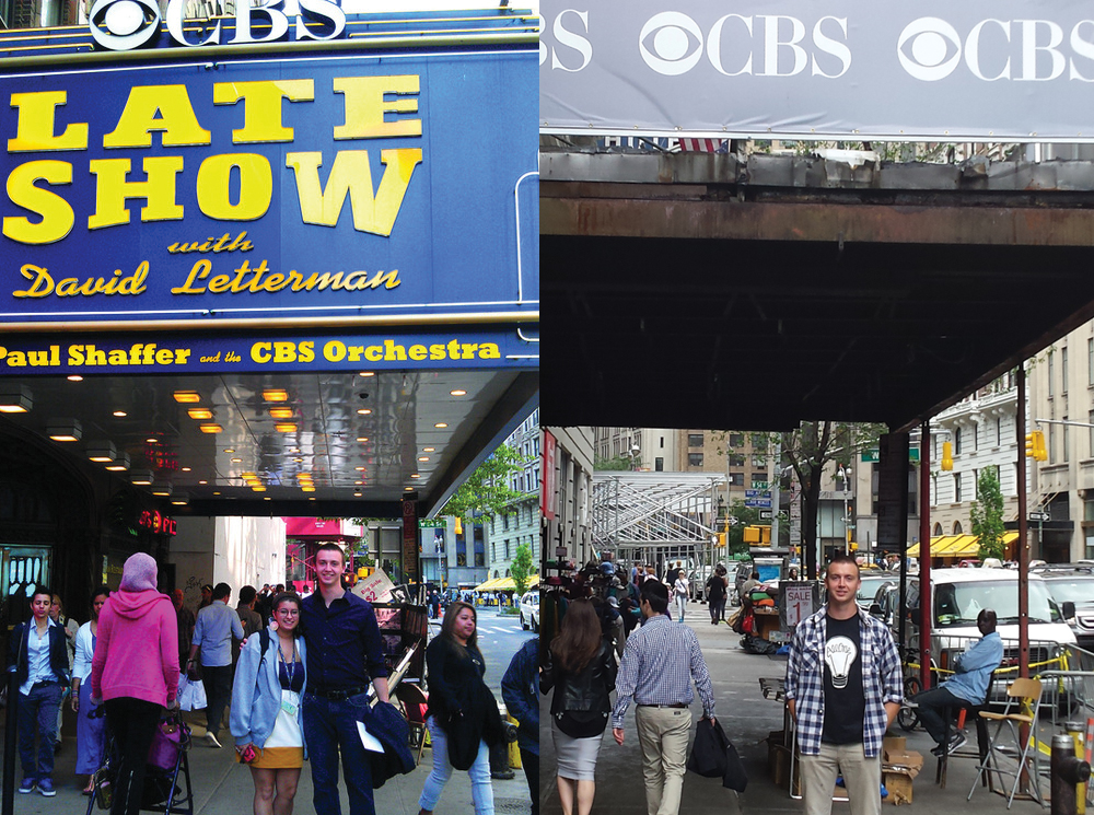 Stopped by the Ed Sullivan Theaterto see what the marquee lookslike. Left is 2012 photo with co-intern Kat Koehler and right is 2015 photo post Letterman retirement.