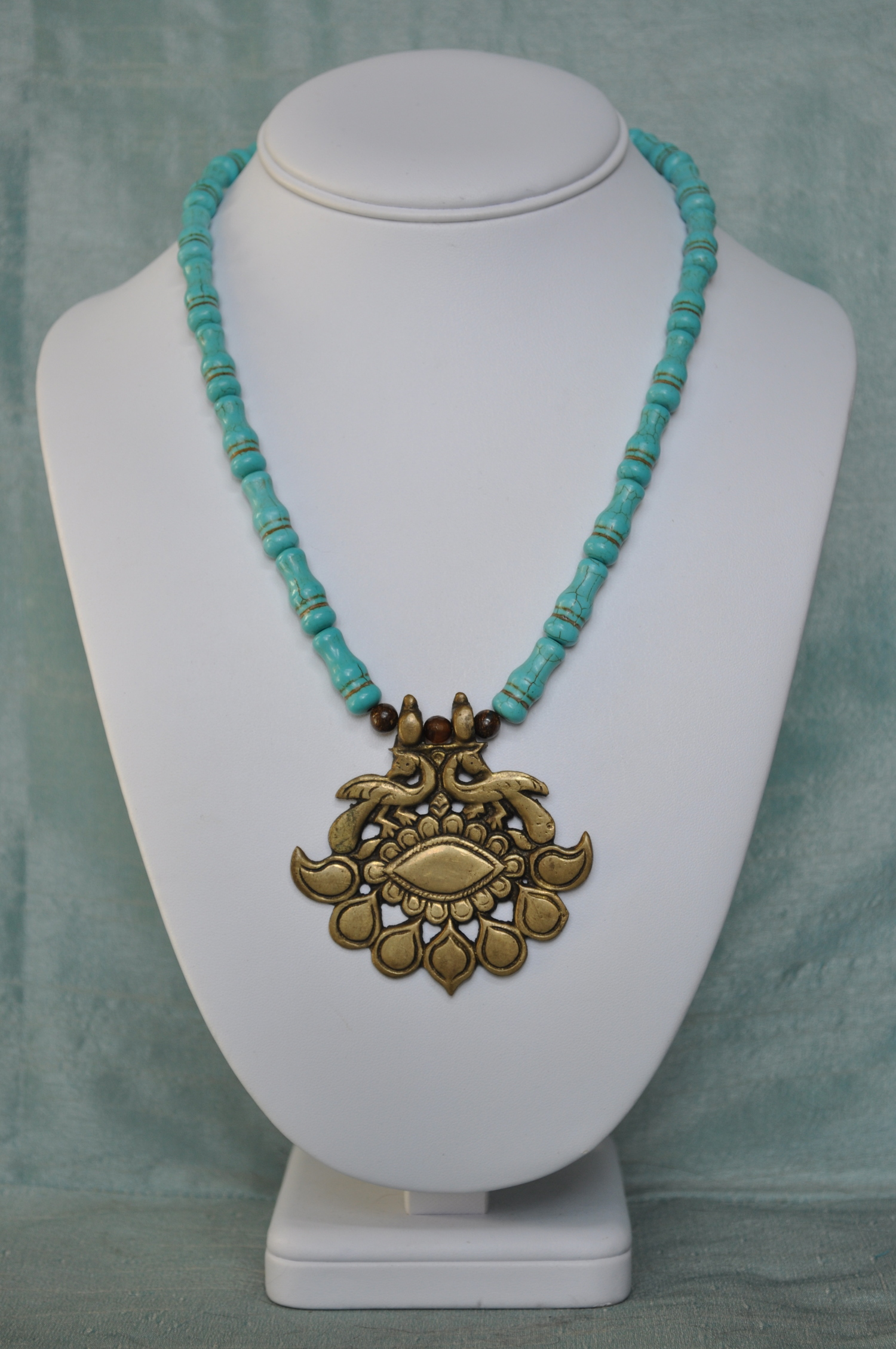 Antique Brass Drawer pull (turned pendant) with Turquoise stones ...