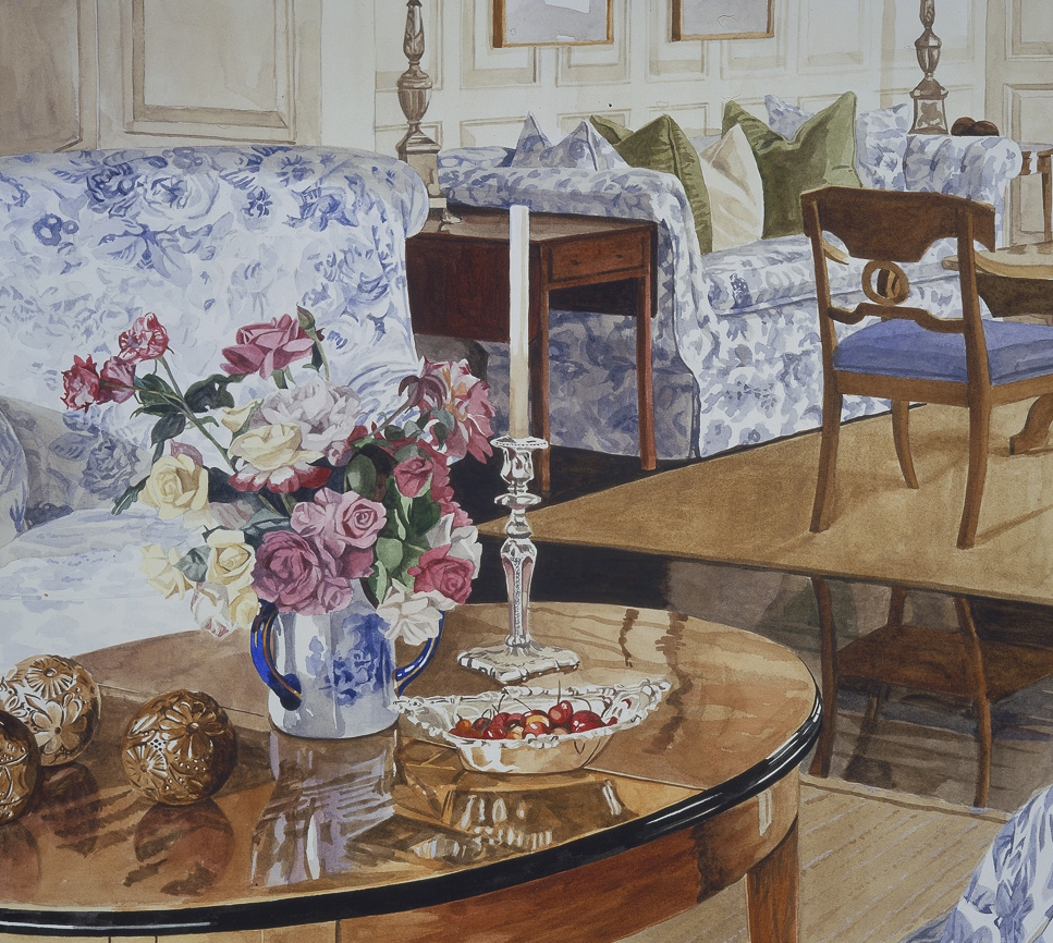 Chintz Couches and Coffee Table with Roses