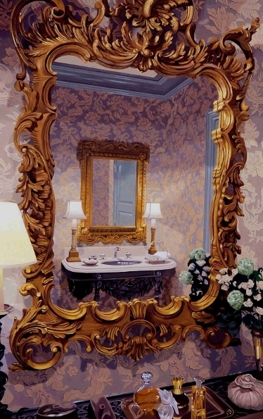 Bathroom with Mirrors and Wallpaper
