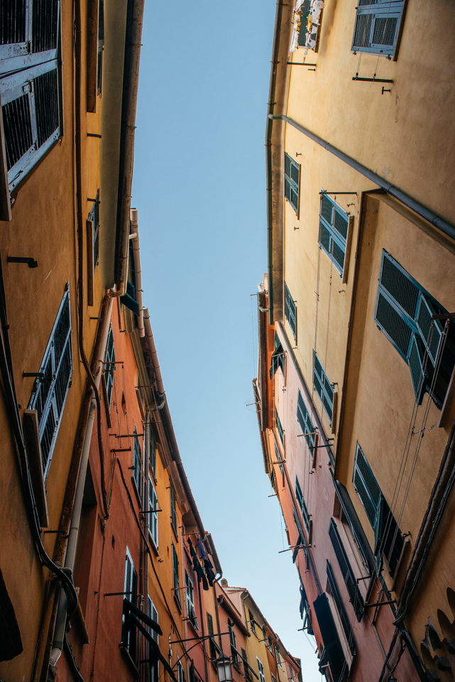 Looking up at the buildings on the narrow streets of Porto Venere