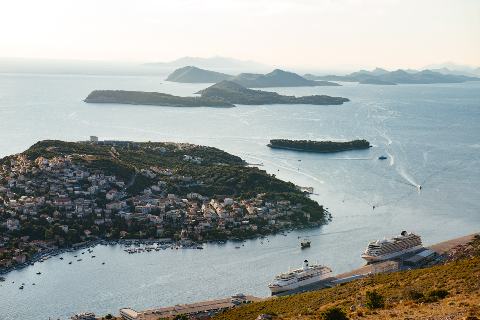A view of the MV World Odyssey from atop Mountain Srđ.