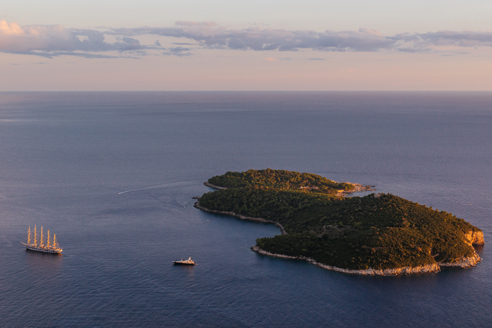 Lokrum Island at sunset.