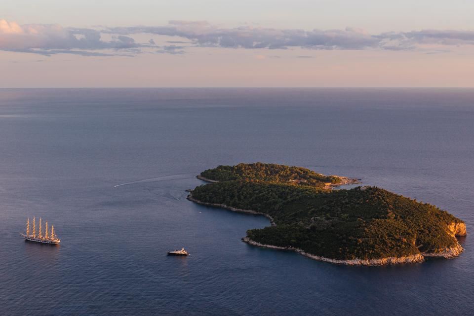 Lokrum Island at sunset.