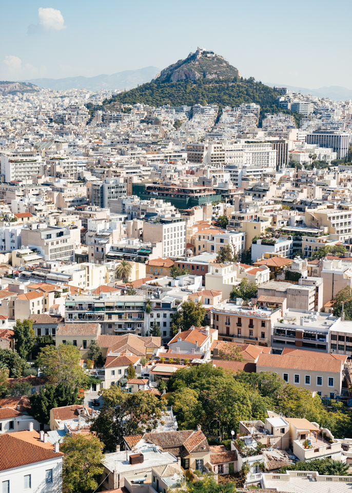 The view of Lycabettus Hill and Athens from the Acropolis.