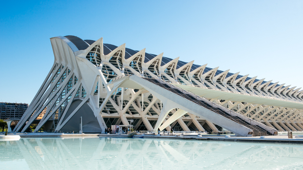 The  Museo de les Ciències Príncipe Felipe , is designed to resemble the skeleton of a whale. The building is a museum designed for more entertainment value than science and holds a massive exhibition space inside.