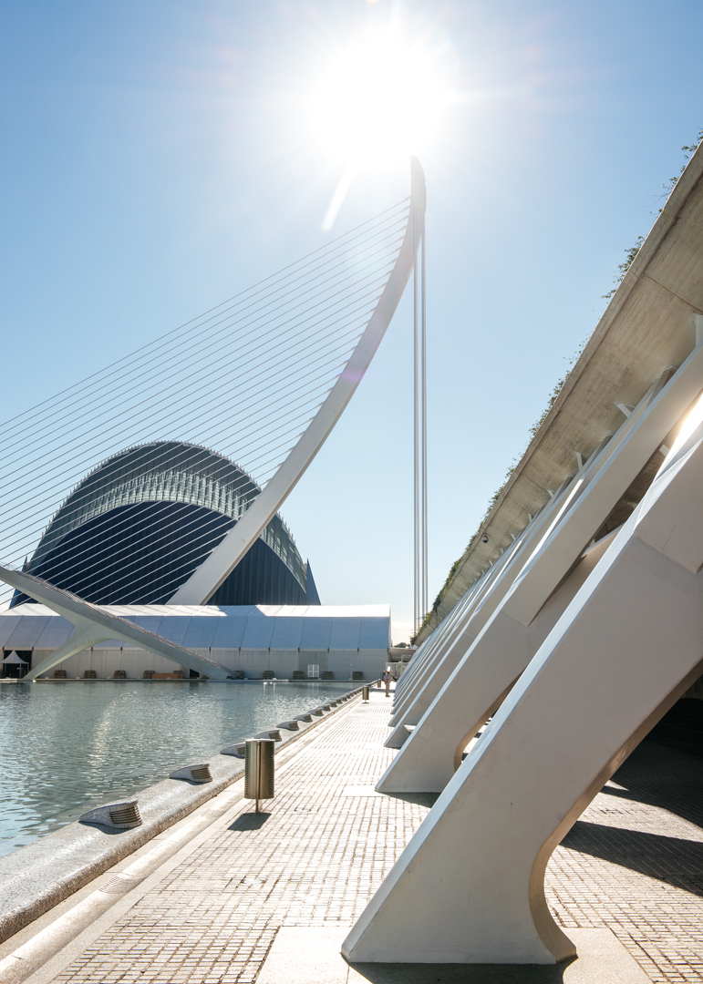 A view of t he L'Assut de l'Or Bridge  with L'Àgora in the background.  The L'Assut de l'Or Bridge is a suspension bridge that brings people over to the City of Arts and Science.  L'Àgora is a multifunctional space where sports and various concerts are held. It also holds the Valencia Open 500.