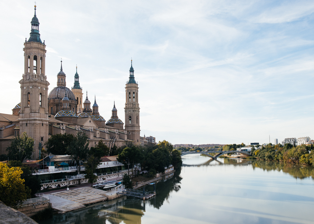 Basilica of Our Lady of the Pillar overlooks the Ebro River.