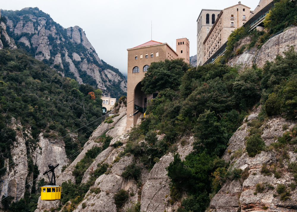 The cable car passes us as we make our final push to the top of Montserrat.