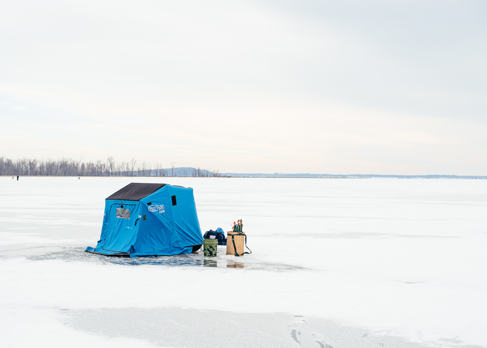 An ice fishing hut.