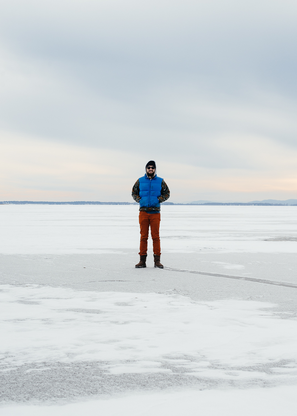 Nick on the frozen Lake Champlain.