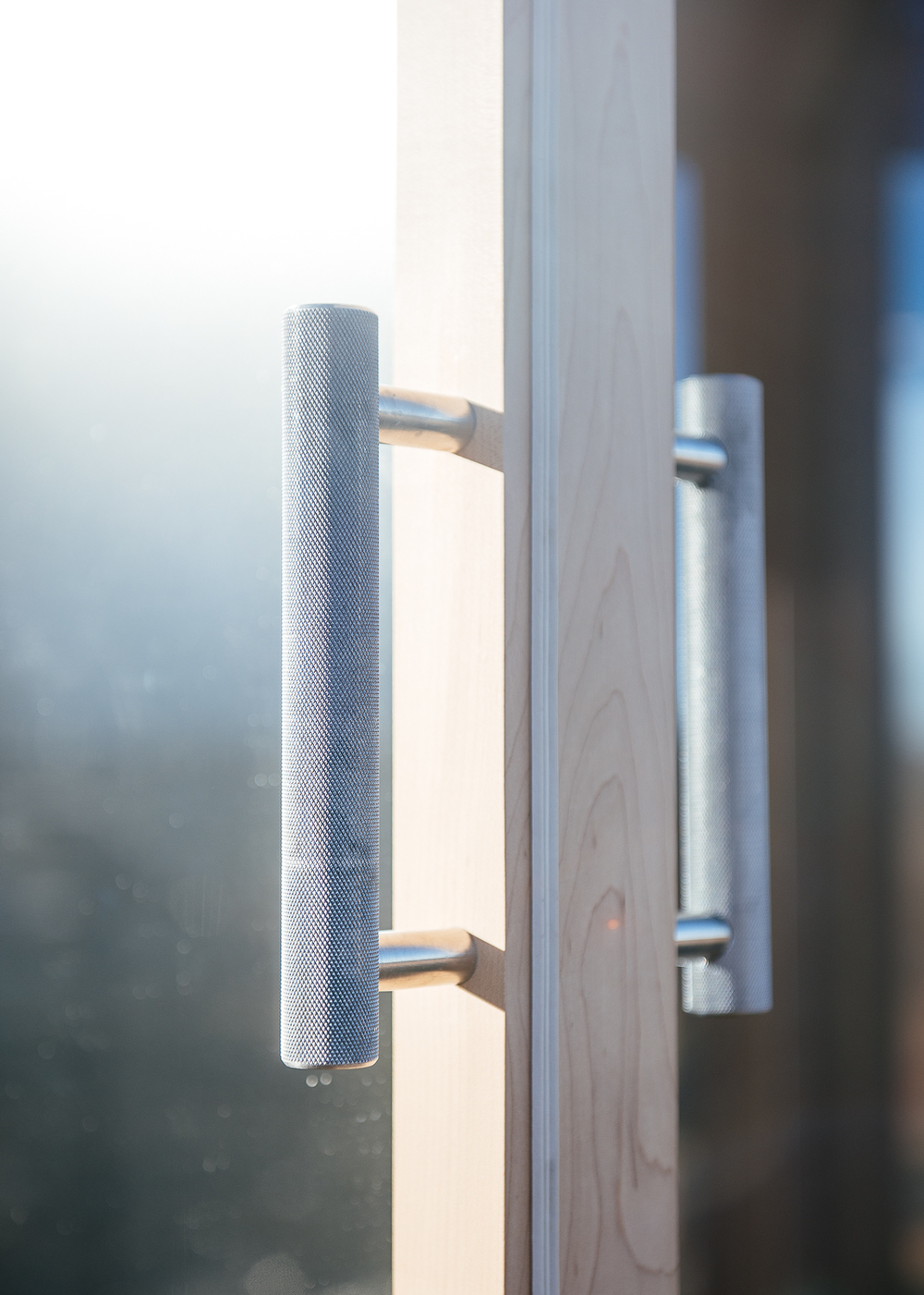 Stainless steel door handle.
