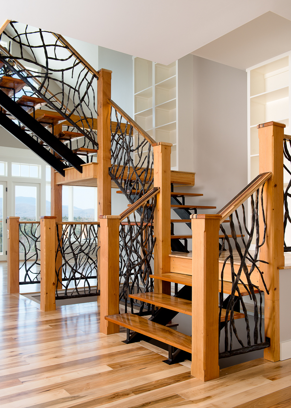 Staircase with custom built-ins for extra storage.