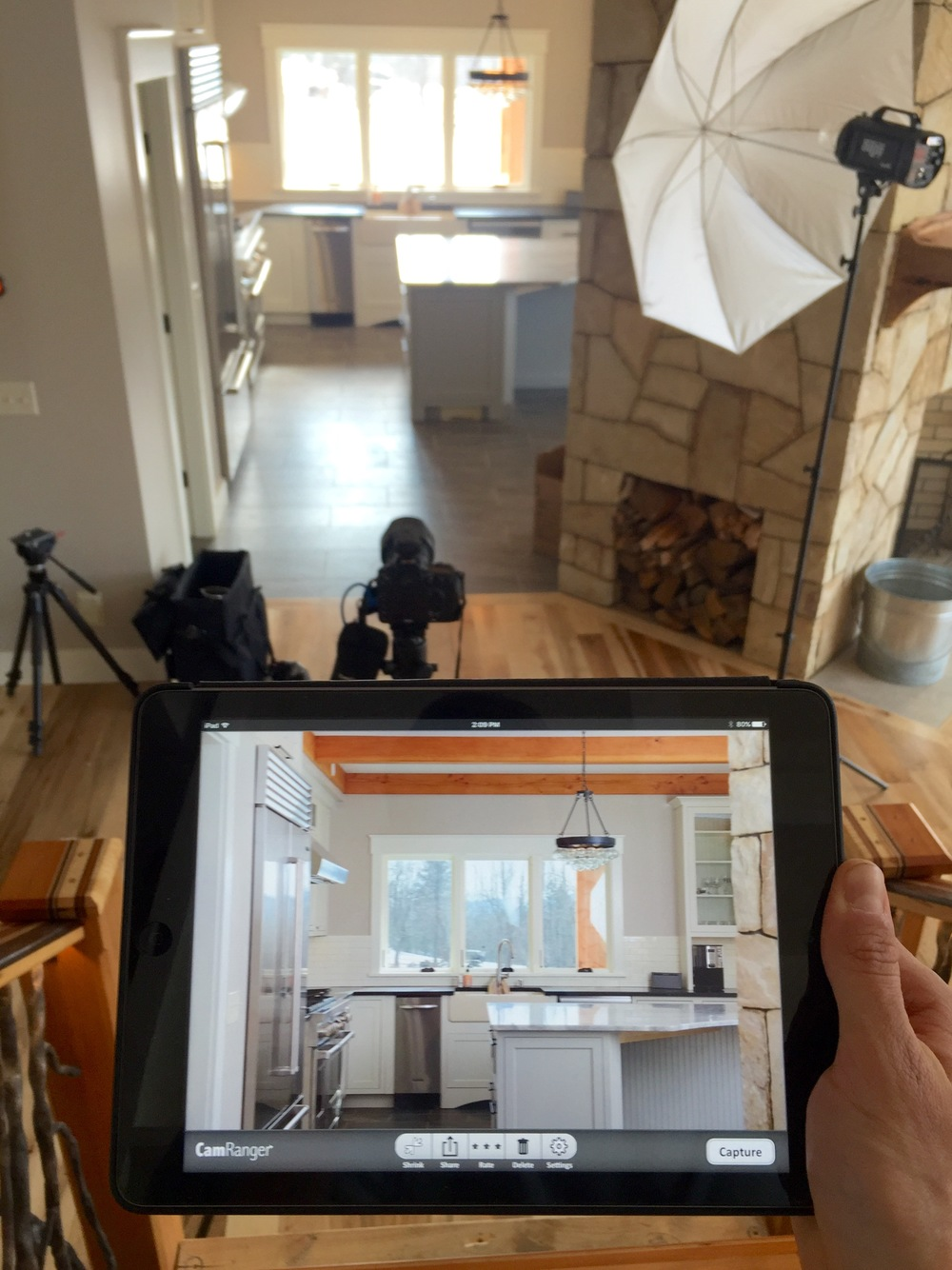Behind the scenes, shooting the kitchen, as viewed through the CamRanger iPad app.