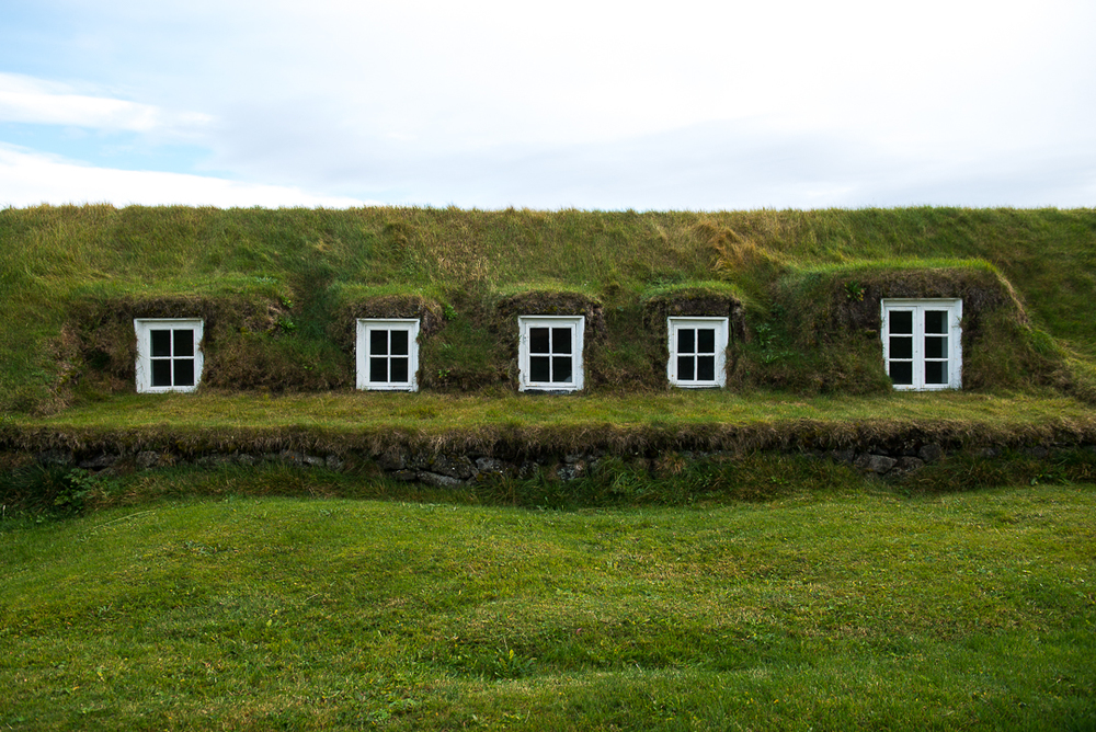 Back windows of a turf house in  Glaumbær.