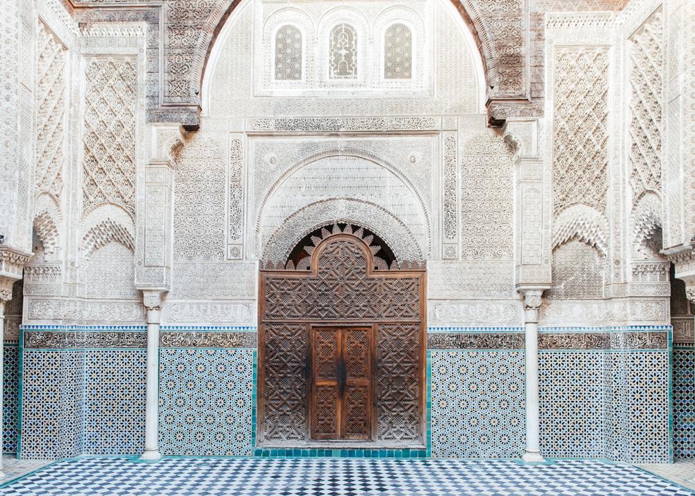 The famous Al-Attarine Madrasa mosaic walls.