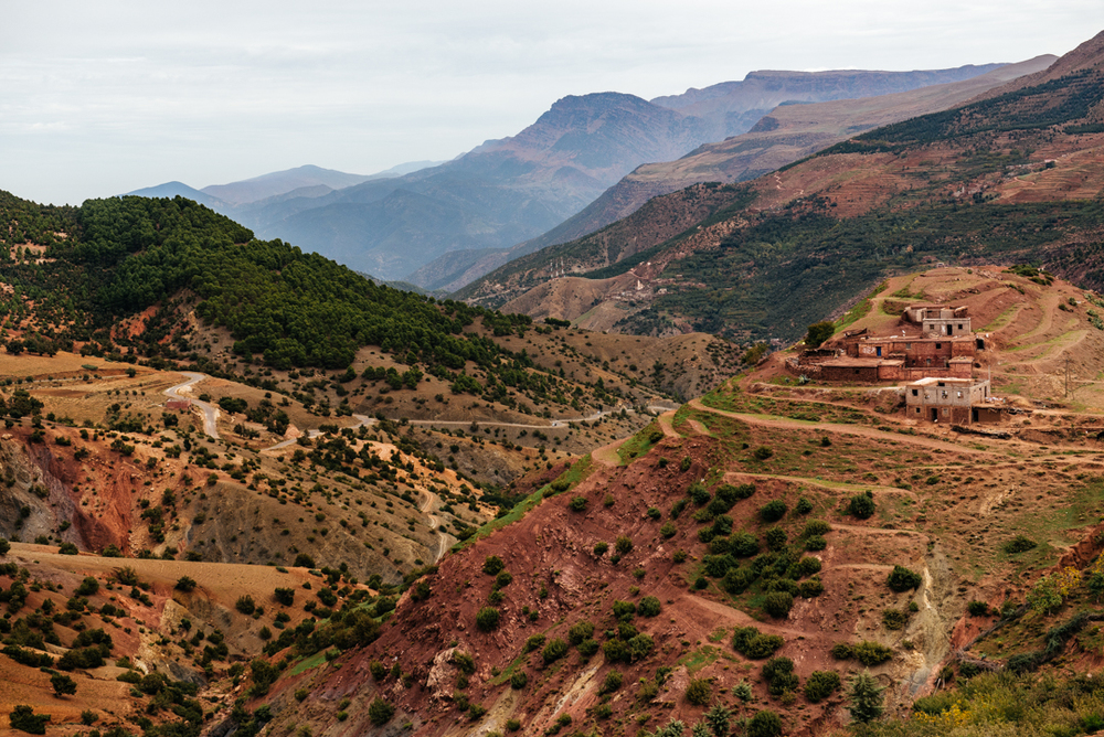 A Berber village blends into the landscape.