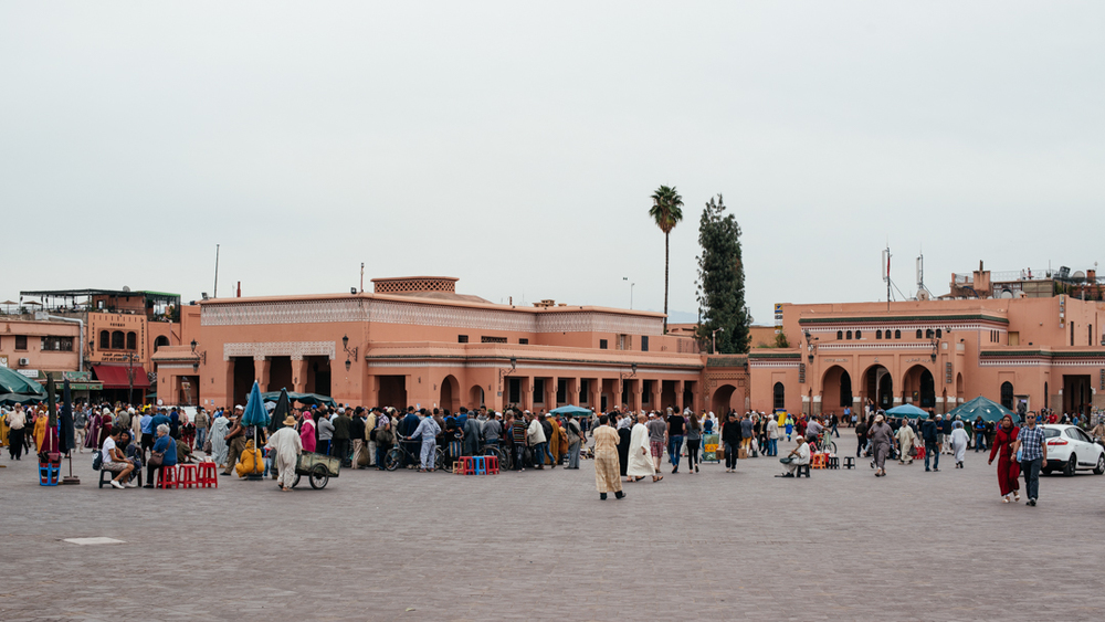Marrakech market and city center.