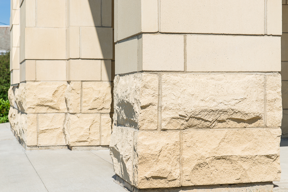 Rough and smoothed limestone used for the front entry.