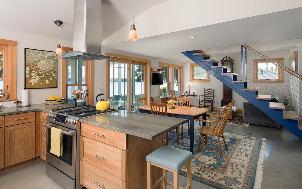 South Hero, VT. Cottage interior open floor plan