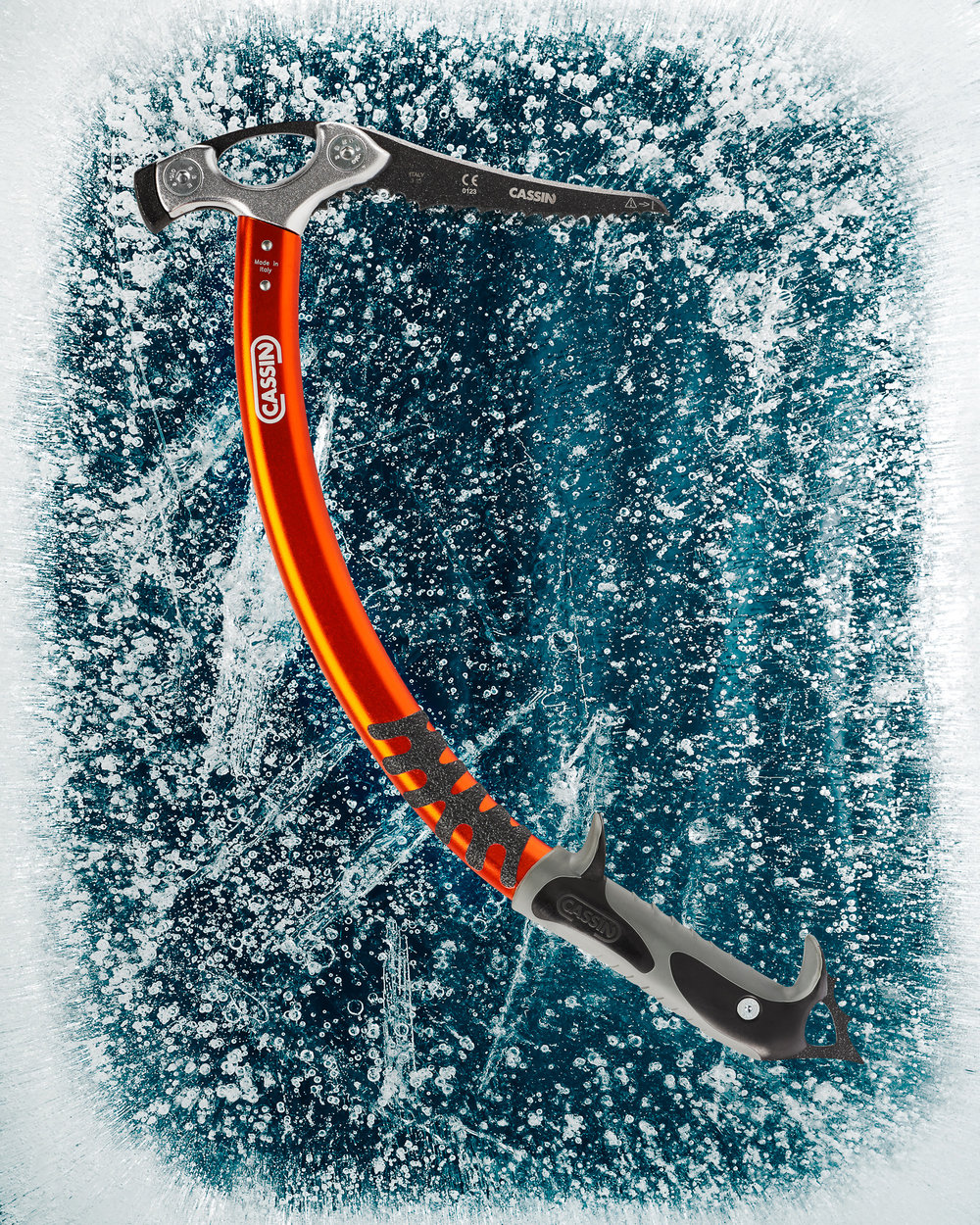 Ice axe laying on top of the ice slab. 2 flashes were used to light the ice from below while an additional 2 flashes lit the ice axe.