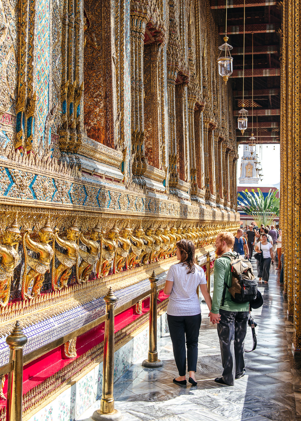 Sam and Mike admiring the intricate detail of the Temple of the Emerald Buddha.