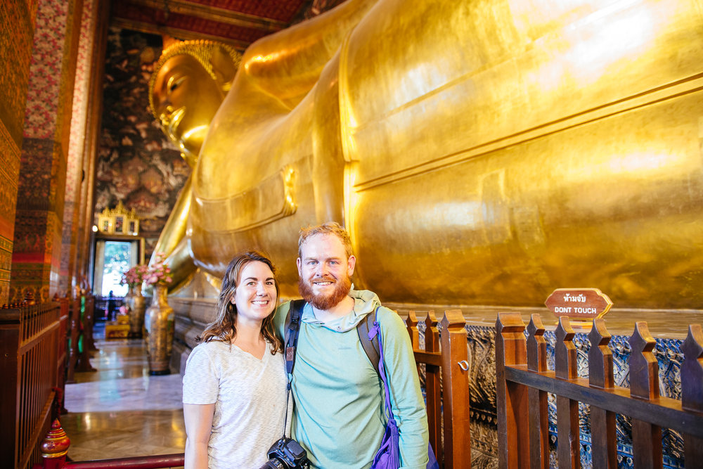 Sam and Mike in from of the Reclining Buddha.