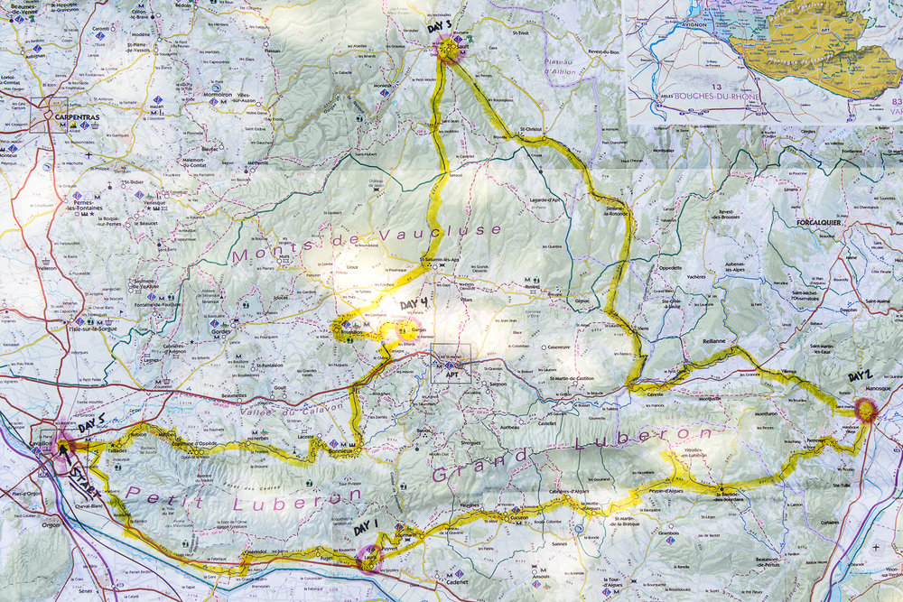 Our bike route through the Luberon region.
