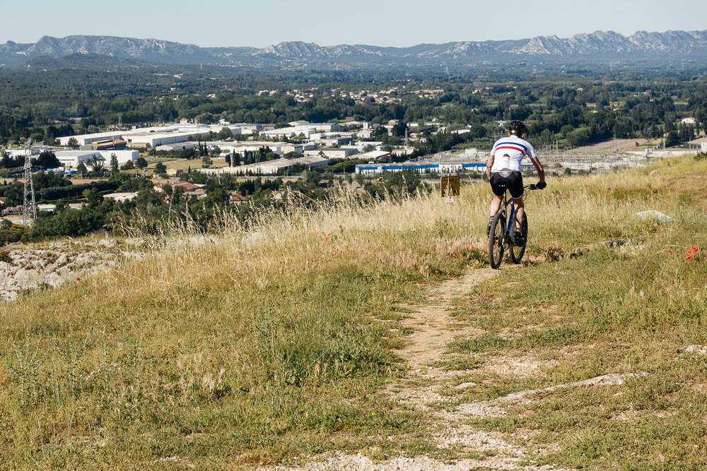 Mountain biking in Cavaillon, France.
