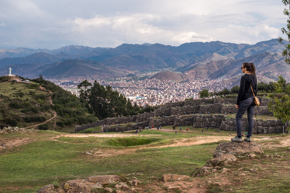 Chelsea at the inca site Sacsayhuaman.