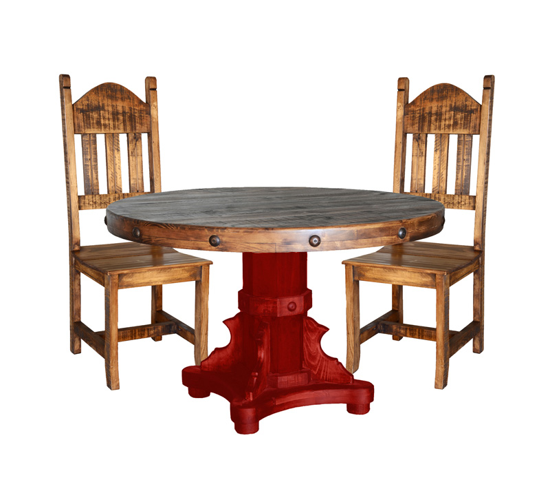 TWO TONE RUSTIC ROUND TABLE SET