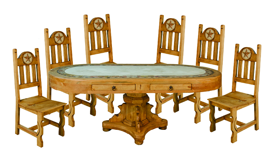 oval marble table dining set - Rustic Dining Set