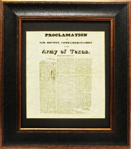 SAM HOUSTON PROCLAMATION $89