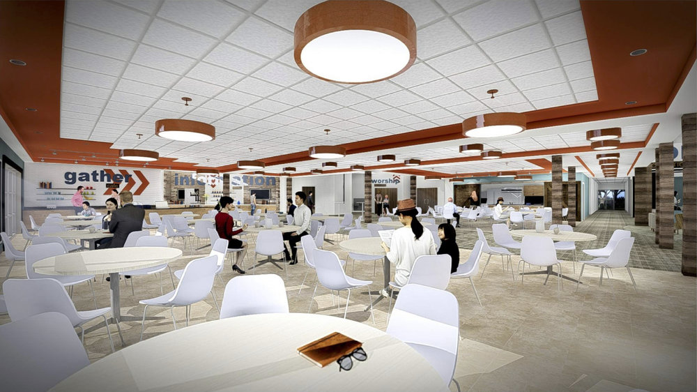 Expanded Commons Area - Connection are key to building life-changing relationships within the church. We want to provide even more space for relationships to build through intentional spaces with connectivity as the focus. The new connection spaces will be able to accommodate a growing amount of people as well as function well for gatherings throughout the week.