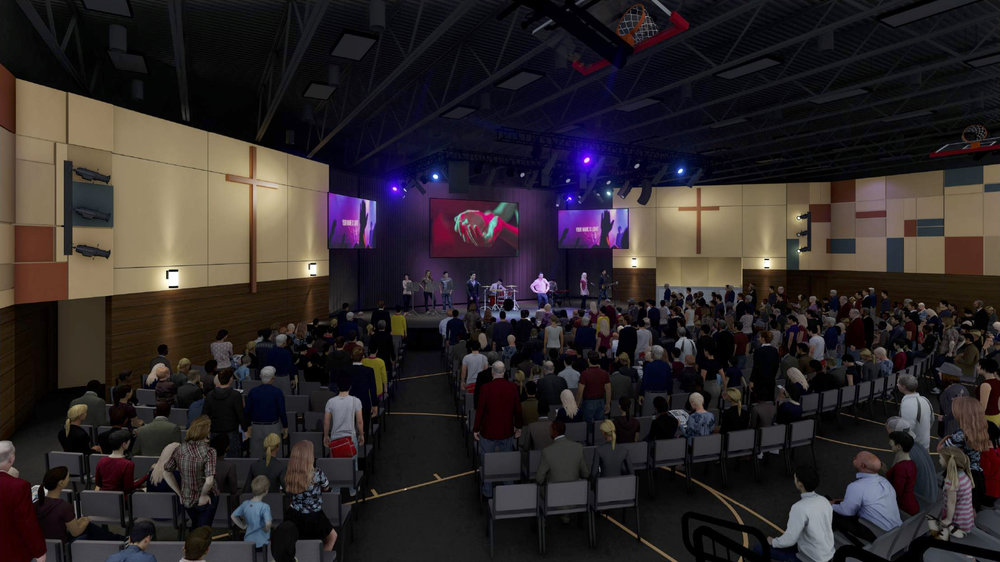 Flexible Ministry Space - Our new worship space is designed to accommodate 750 seats in an environment for worship. This brand new ministry space will also be large enough to house a basketball court. Having a flexible ministry space will allow us to expand new ministries of outreach, host youth and family events, and accommodate growth in our church.